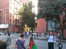 Crowds gather to see Obama's motorcade in the West Village