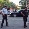 Obama's motorcade on Charles Street