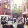 Crowds gathered in the West Village