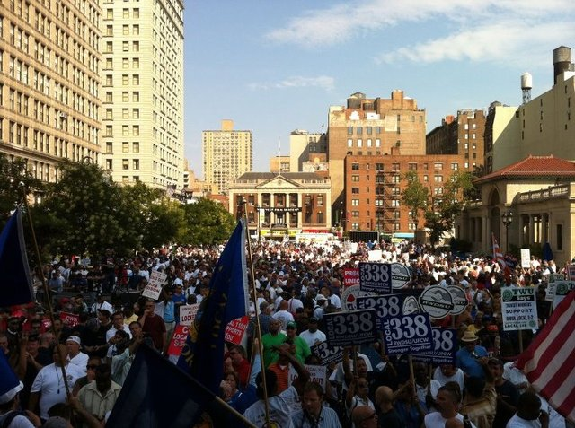 Workers gathered in the north plaza of Union Square