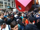 Protesters gathered across from Zuccotti
