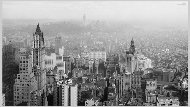 Looking north from Wall St., ESB under construction