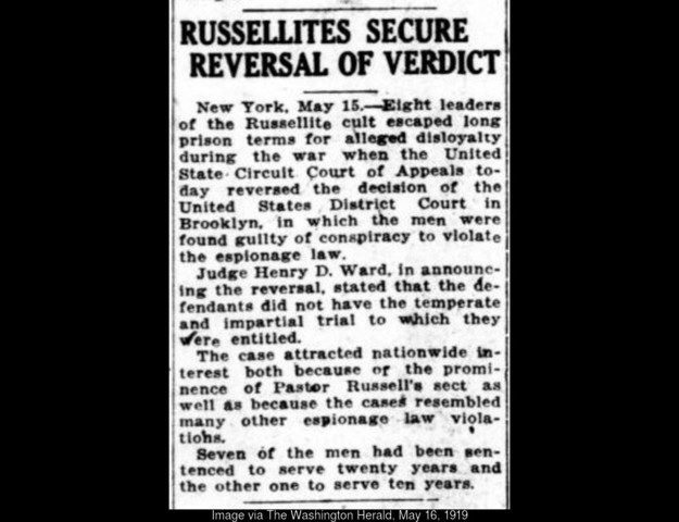 Russellites Secure Reversal of Verdict