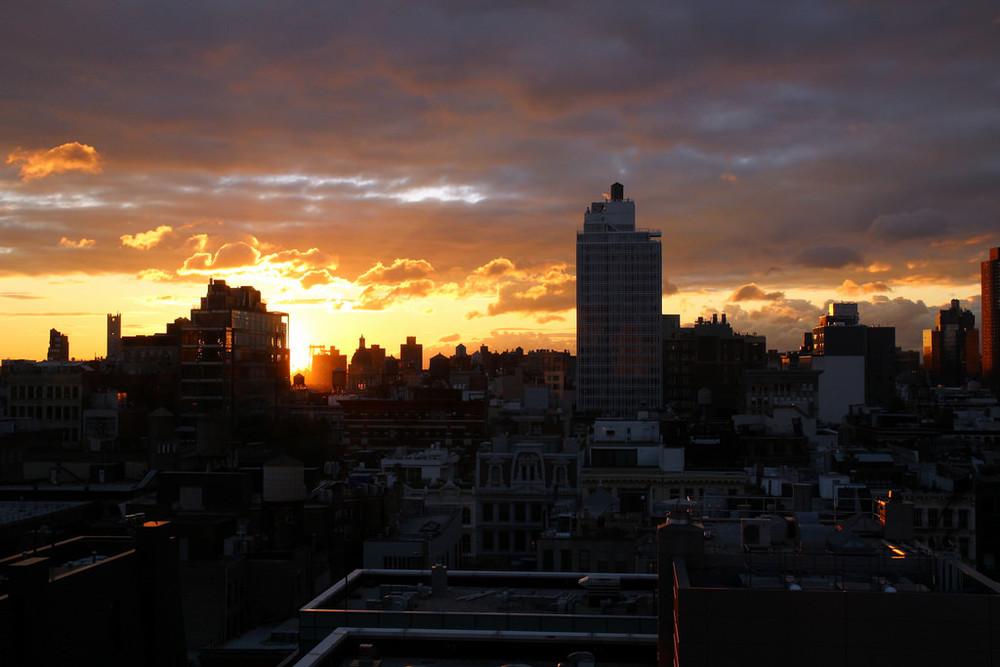 Soho sunrise from my room at the Soho Grand