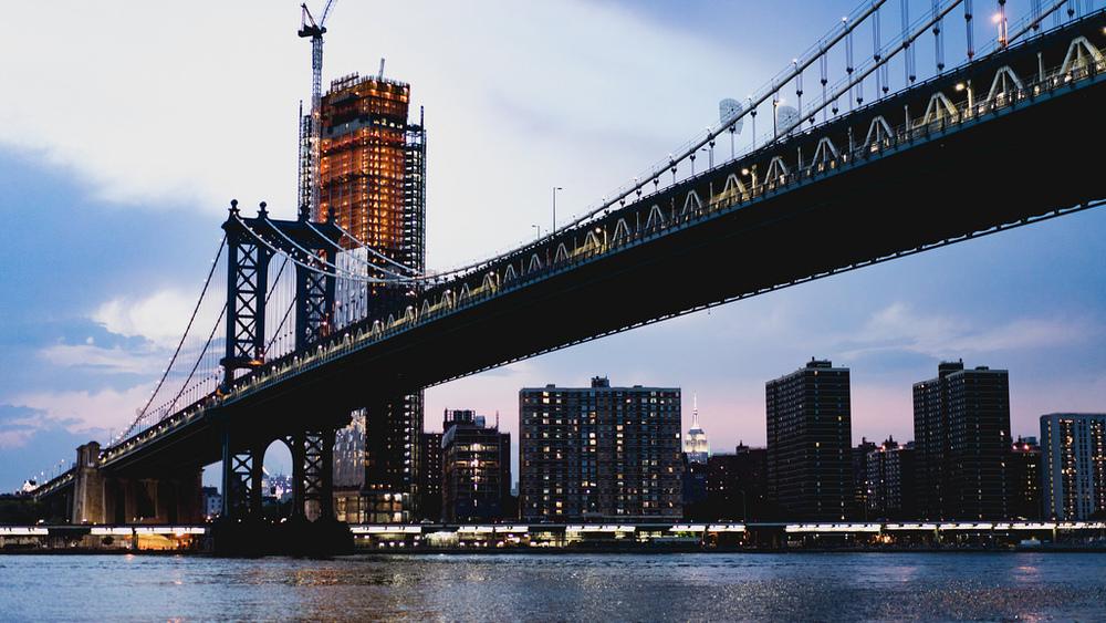 New York City bridge on morning